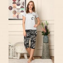 Piżama damska moro nadruk z pandami L XL 2XL