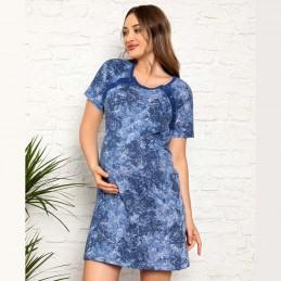 Koszula nocna do karmienia w kolorze niebieskim M L XL 2XL
