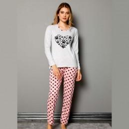 Długa dwuczęściowa piżama damska ciemny wzór S M L XL 2XL