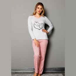 Długa szaro-różowa piżama damska dwuczęściowa S M L XL 2XL