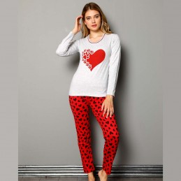 Długa czerwona piżama damska dwuczęściowa zwierzęcy wzór S M L XL 2XL