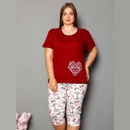Brodowa piżama damska plus size dwuczęściowy komplet XL 2XL 3XL 4XL
