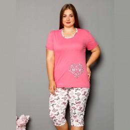 Dwuczęściowy komplet piżama damska plus size kolor malina XL 2XL 3XL 4XL