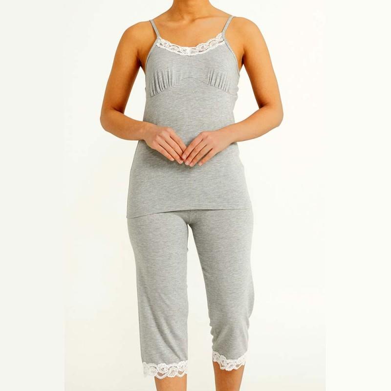 Jasna piżama damska z wiskozy koronkowy wzór M L XL 2XL