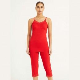 Wygodna damska piżama czerwona z wiskozy dopasowany krój z koronką M L XL 2XL
