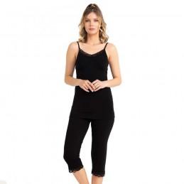 Piękna damska piżama z wiskozy na ramiączkach kolor czarny M L XL 2XL