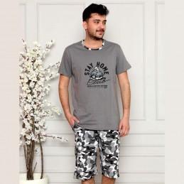 Bawełniana ciemnoszara piżama męska moro z ciemnym nadrukiem M L XL 2XL