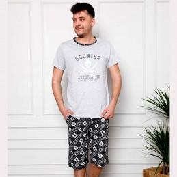 Piżama męska jasnoszara przyjemna bawełna z nadrukiem M L XL 2XL