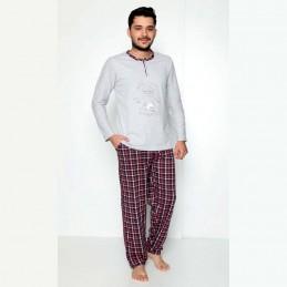 Rozpinana piżama męska z przyjemnej bawełny szaro-czerwony wzór M L XL 2XL
