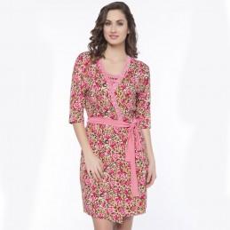 Brązowo-różowy letni szlafrok damski z wiskozy S M L XL