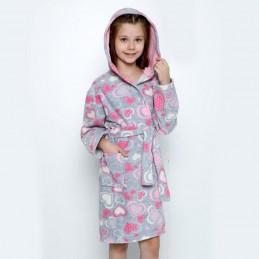 Szaro-różowy szlafrok dziecięcy welurowy 116 140 152 158