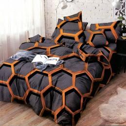 Nowoczesna pościel czarno pomarańczowa 200x220