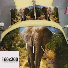 Prześcieradło 3d z bawełny ze słoniami 160/200