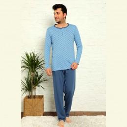 Męska piżama długi rękaw rozpinana w kolorze niebieskim M L XL 2XL