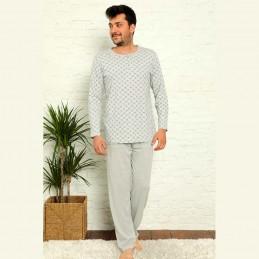 Piżama męska bawełniana w kolorze jasnoszarym M L XL 2XL