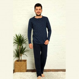 Ciemna piżama męska bawełniana kolor granatowy M L XL 2XL