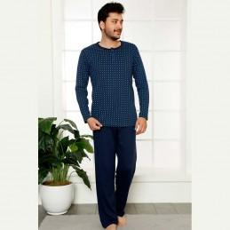 Bawełniana ciemna piżama męska kolor granatowy M L XL 2XL