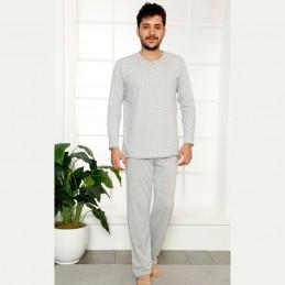 Jasna bawełniana męska piżama rozpinana w szarym kolorze M L XL 2XL