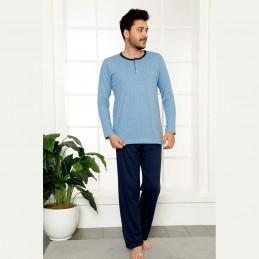 Niebiesko-granatowa bawełniana męska piżama M L XL 2XL