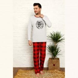Bawełniana szaro-czerwona męska piżama z lwem M L XL 2XL