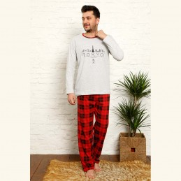 Bawełniana męska piżama czerwono-szara z napisem M L XL 2XL