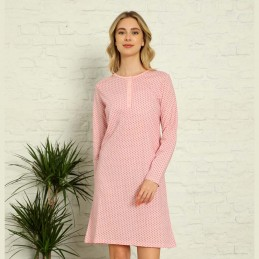 Dziewczęca koszula nocna różowa z długim rękawem M L XL 2XL