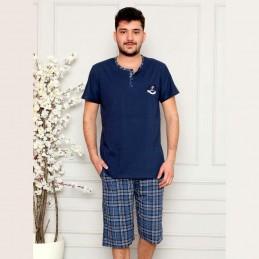 Rozpinana piżama męska ciemnoniebieska krótka M L XL 2XL 3XL