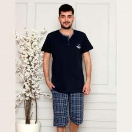 Piżama męska krótka ciemny kolor granatowy M L XL 2XL 3XL