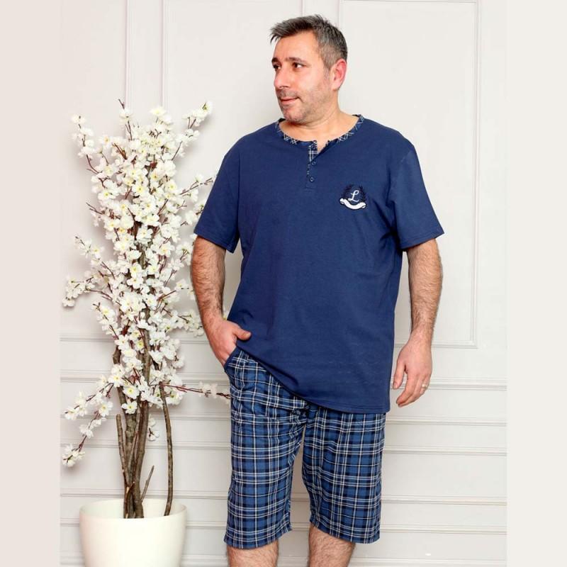 Piżama w kolorze ciemnoniebieskim męska krótka  XL 2XL 3XL 4XL