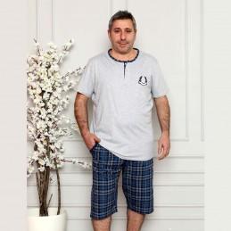Piżama męska w kolorze szaro-niebieskim krótka rozpinana XL 2XL 3XL 4XL