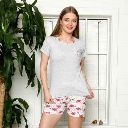 Piżama damska różowa z liskiem krótkie spodenki M L XL 2XL