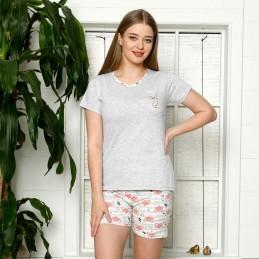 Piękna piżama damska krótkie spodenki w kolorze łososiowym M L XL 2XL