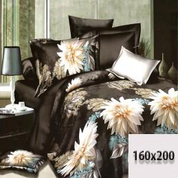Czarne prześcieradło 160x200 3d bawełna duże kwiaty