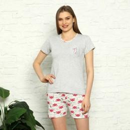 Stylowa piżama damska z koralowym wzorem krótkie spodenki M L XL 2XL