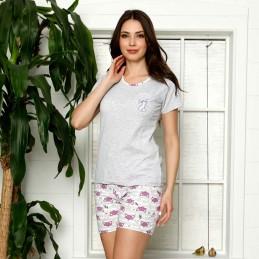 Szaro-fioletowa piżama damska letni wzór w lisy krótkie spodenki M L XL 2XL