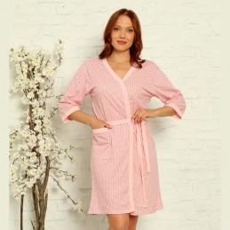 Piękny różowy szlafrok damski bawełniany z kieszonką M L XL 2XL