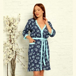 Wygodny damski szlafrok z wzorem w niebieskie kwiaty bawełniany M L XL 2XL