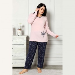 Ciepła piżama damska z motylem kolor różowo-granatowy XL 2XL 3XL 4XL