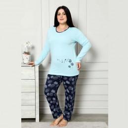 Błękitno-granatowa ciepła piżama damska z nadrukiem z dmuchawcami XL 2XL 3XL 4XL