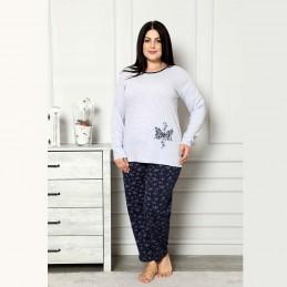 Piżama damska ciepła piękny nadruk z motylem XL 2XL 3XL 4XL
