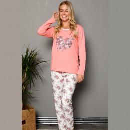 Urocza damska piżama długi rękaw kolor morelowy S M L XL