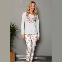 Jasnoszara piżama damska długi rękaw motyw kwiatowy S M L XL