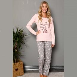 Przyjemna piżama damska długi rękaw odcień morelowy S M L XL