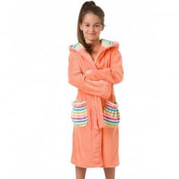 Wygodny pomarańczowy szlafrok dziecięcy w kolorowe paski 104/110