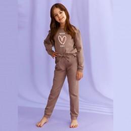Piżama dziewczęca kolor brązowy z nadruk serduszkiem 104 116