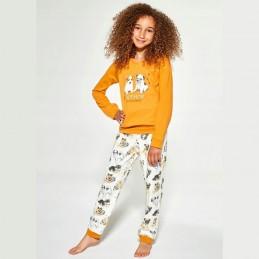 Pomarańczowa piżama dziewczęca wzór w pieski bawełna 86/92 122/128