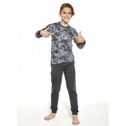 Bawełniana piżama chłopięca grafitowy wzór moro 98/104