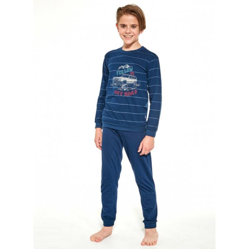 Piżama dziecięca bawełna w paski dla chłopca kolor granatowy 86/92 98/104 110/116 122/128 134/140 146/152 158/164
