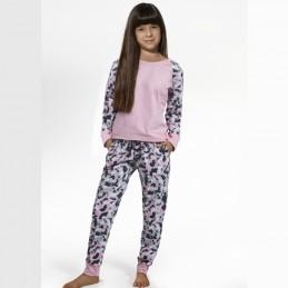 Różowa piżamka dziecięca bawełniana dla dziewczynki wzór moro 122/128