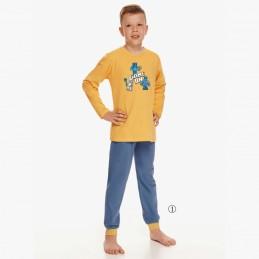 bawełniana niebiesko-żółta piżama dziecięca z nadrukiem 98 128 140